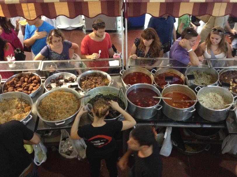 Marché alimentaire - repas israélien - centre commercial Dizengoff - Tel Aviv